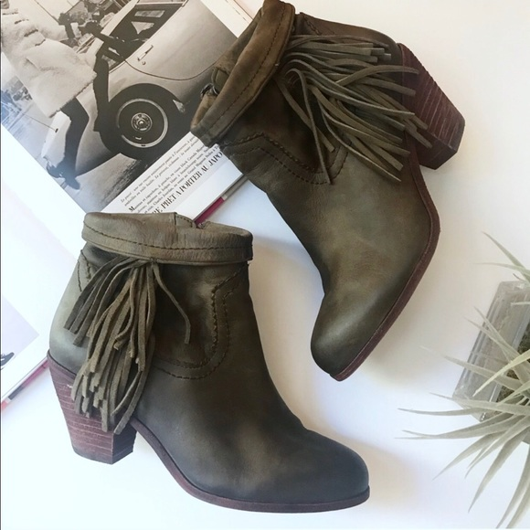 Sam Edelman Shoes - sam edelman / green fringe louie ankle booties